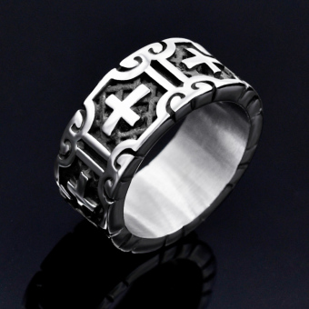 Cool punk titanium steel pull that men's ring