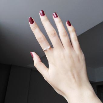 Cool s925 simple red agate sterling silver finger ring (Small pearl ring one) (Small pearl ring one)