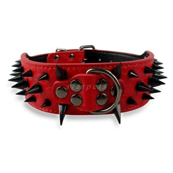 Cool Sharp Spiked Studded PU Leather Dog Collar For Medium LargeBreeds Pitbull Mastiff Boxer Bully 2inch Width L (Red) - intl