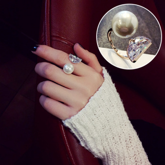 Cool versatile female Pearl joint ring finger ring (Silver) (Silver)