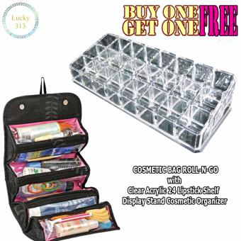 COSMETIC BAG ROLL-N-GO With Clear Lipstick Shelf Display StandCosmetic Organizer - 2