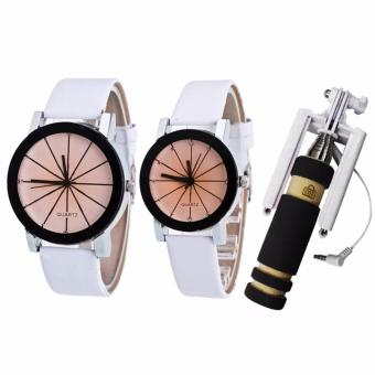 Couple Black Leather Strap Watch (White) and with E-703 Mini Monopod (color may vary)