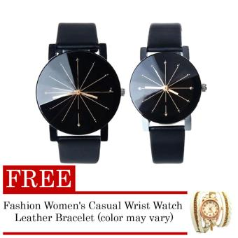 Couple Leather Strap Watch (Black) with FREE Fashion Women's Casual Wrist Watch Leather Bracelet