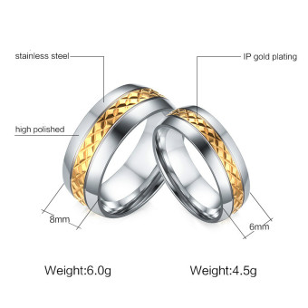 Couple Rings Gold plated Titanium Steel Ring Wedding Band(Price is for a ring) - Intl