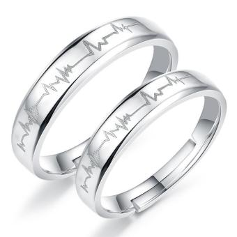 Couple Rings Jewellry 925 Silver Adjustable Lovers Ring Jewelry E017 - intl