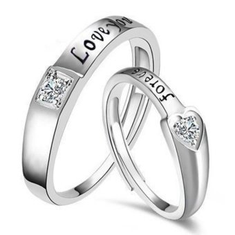 Couple Rings Jewellry 925 Silver Adjustable Lovers Ring Jewelry E028 - intl - 2