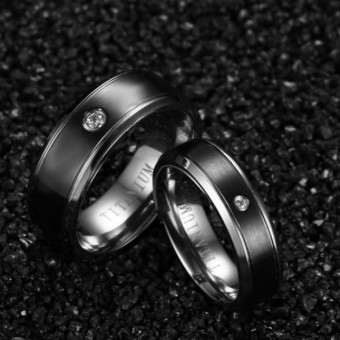 Couple Rings Titanium Steel Ring Wedding Band Black (Price is for a ring) - Intl - 3