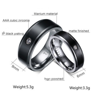 Couple Rings Titanium Steel Ring Wedding Band Black (Price is for a ring) - Intl - 2