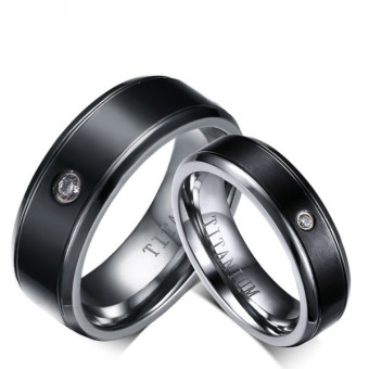 Couple Rings Titanium Steel Ring Wedding Band Black (Price is for a ring) - Intl