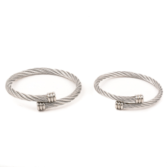 Couple Stainless Steel Cable Wire Bangle - Silver - 3