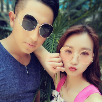 Couple's cool style elegant metal frame sun glasses