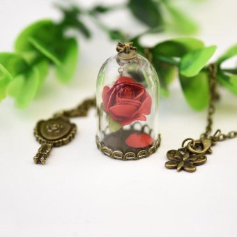 Couple's Glass Cover Pendant Dried Flower Chain Rose Key NecklaceJewelry Gift - intl