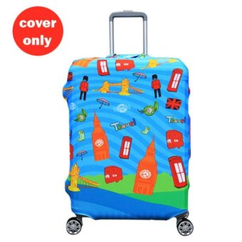 (Cover only) Elite Luggage Cover / Suitcase Cover ( Blue London) -Large