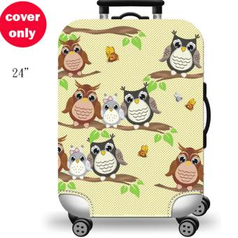 (Cover only) Elite Luggage Cover / Suitcase Cover ( Forest Owl)-medium