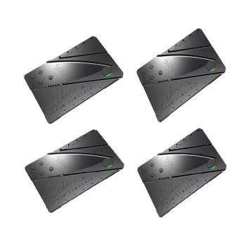 Credit Card Type Folding Safety Knife Set of 4 (Black)