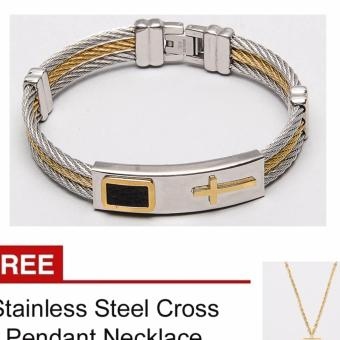 Cross Faith Bangle with Free Stainless Steel Cross Necklace