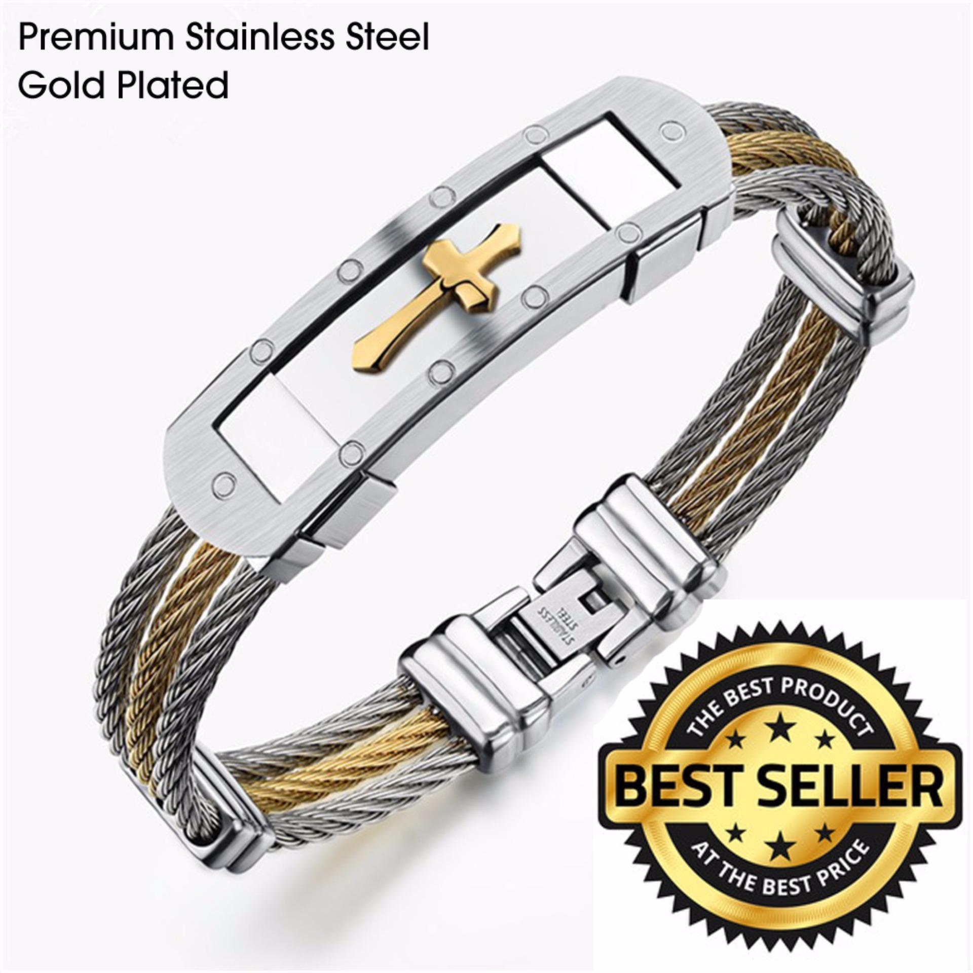 Cross Jesus Premium Stainless Steel Bracelet (medieval Gold) (a2)