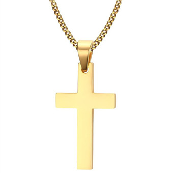 Cross Necklaces&Pendants For Men Stainless Steel 18K Gold Plated Male Pendant Necklaces Prayer Jewelry - intl