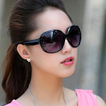 CRUOXIBB New Brand Designer Sunglasses Women Round Big Frame Shades Sun Glasses Multicolour Female Driving Eyewear(Black) - intl