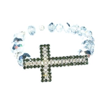 Crystal-Beaded Rosary Bracelet (Clear)