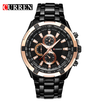 CURREN 8023 men watches quartz watch waterproof black black gold