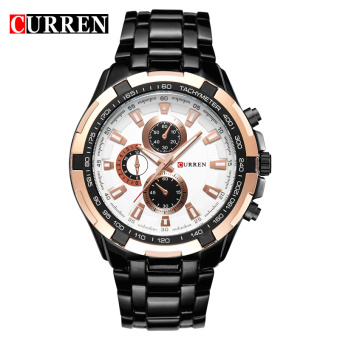 CURREN 8023 men watches quartz watch waterproof black white gold