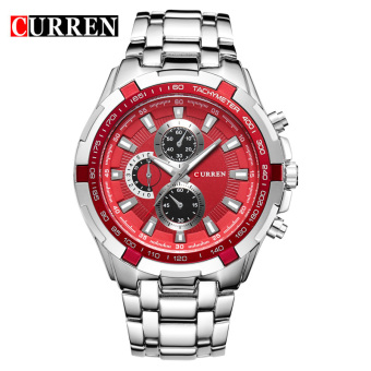 CURREN 8023 men watches quartz watch waterproof silver red