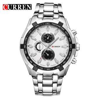 CURREN 8023 men watches quartz watch waterproof silver white