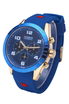 Curren 8167 Top Brand Men Waterproof Imported Quartz MovementFashion Silicone Wristwatches Gold Shell Blue Surface - 2