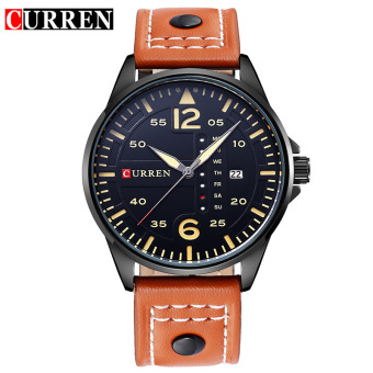 CURREN 8224 Men Casual Watch Quartz orange+balck