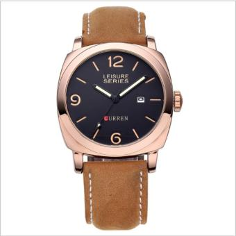 Curren Leather Strap Unisex Watch 8158 (Brown/Gold/Black)