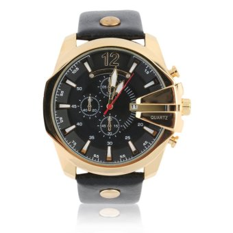 Curren Leather Strap Unisex Watch 8176 (Black/Gold/Black)