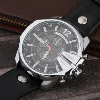Curren Leather Strap Unisex Watch 8176 (Black/Silver/Black) - 2