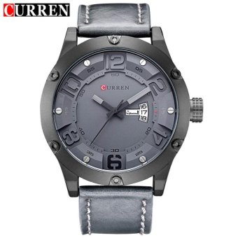 Curren Leather Strap Unisex Watch 8251 (Grey/Black/Grey)