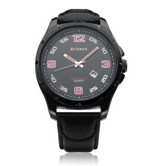 Curren Men's Black Leather Strap Watch 8121