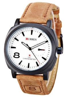 Curren Men's Brown Leather Strap Watch