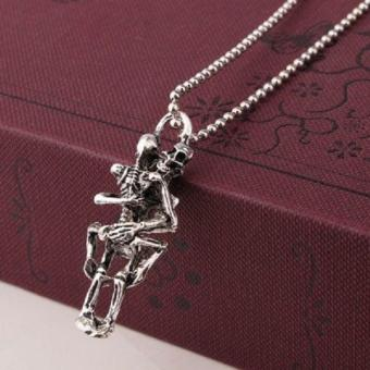 Cute Stylist Men Infinity Tibet Silver Stainless Steel Skull Pendant Chain Necklace - intl