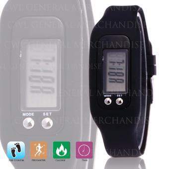 CWL Digital LCD Pedometer Bracelet Walking Distance Calorie Counter Watch (Black) - 2