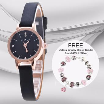 CWL Slim Chick Leather Strap Watch (Black) with FREE VictoriaJewelry Charm Beaded Bracelet(Pink/Silver)