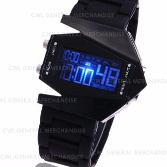 CWL-wrist clocks unisex fashion aviation aircraft led bombersmilitary sports plane watch (BLACK) - 2
