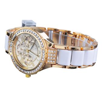 Cyber Fashion Quartz Crystal Women Wrist Watch ( Golden )