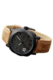 Cyber Leather Strap Men Quartz Wrist Watch (Black) - picture 2