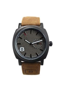 Cyber Leather Strap Men Quartz Wrist Watch (Black)