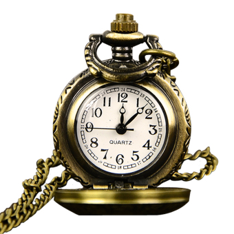Cyber Retro Bronze Women Pocket Watch Necklace Pendant Chain Clock