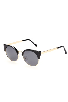 Cyber Retro Vintage Women Casual Round Lens Sunglasses UV400 ( Black/Gold) - picture 2