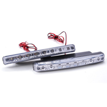 Cyber White Car 8LED Daytime Running Lights Set of 2