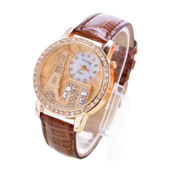 Cyber Women Rhinestone Luxury Wrist Watch Coffee