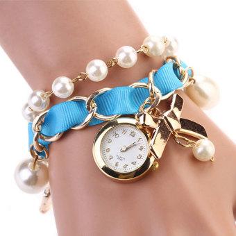 Cyber Women's Beads Watch Strap Hanging Chain Wristwatch (Blue)