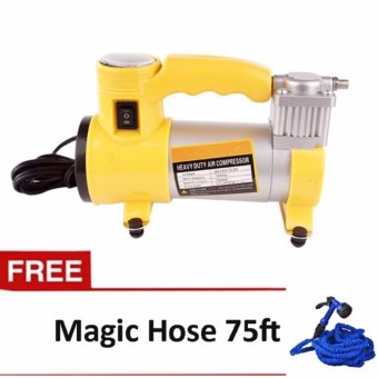 CYCLONE Heavy Duty Air Compressor With Working Light (Yellow) With 75-feet Expandable Garden Hose