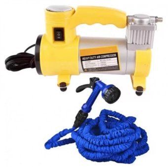 CYCLONE Heavy Duty Air Compressor With Working Light (Yellow) With50-feet Expandable Garden Hose